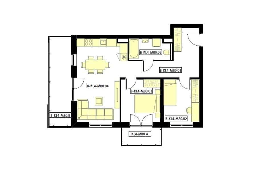 mieszkania 3 pokojowe z 2 balkonami